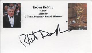 ROBERT DENIRO - PRINTED CARD SIGNED IN INK
