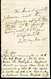 LT. GENERAL WINFIELD SCOTT - AUTOGRAPH NOTE SIGNED 11/25