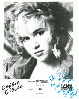 DEBORAH DEBBIE GIBSON - INSCRIBED PRINTED PHOTOGRAPH SIGNED IN INK
