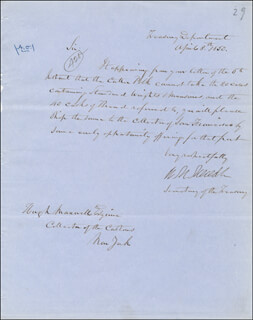 WILLIAM M. MEREDITH - MANUSCRIPT LETTER SIGNED 04/08/1850