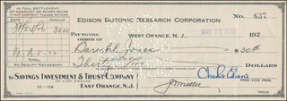 GOVERNOR CHARLES EDISON - AUTOGRAPHED SIGNED CHECK 05/28/1928