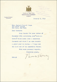 GOVERNOR THOMAS E. DEWEY - TYPED LETTER SIGNED 01/08/1945