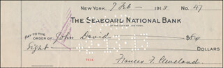 FIRST LADY FRANCES F. CLEVELAND - AUTOGRAPHED SIGNED CHECK 02/07/1913