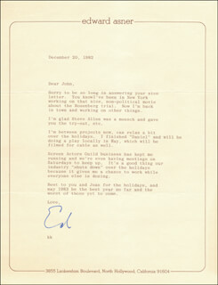Autographs: ED ASNER - TYPED LETTER SIGNED 12/20/1982