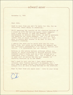 Autographs: ED ASNER - TYPED LETTER SIGNED 11/04/1983
