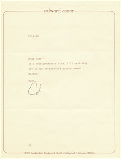 ED ASNER - TYPED LETTER SIGNED 07/14/1983