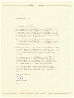 Autographs: ED ASNER - TYPED LETTER SIGNED 12/05/1983