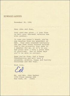 Autographs: ED ASNER - TYPED LETTER SIGNED 11/30/1981
