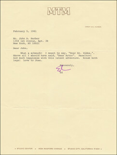 Autographs: ED ASNER - TYPED LETTER SIGNED 02/05/1981