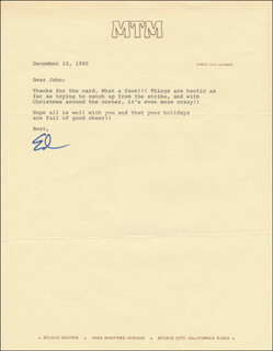 Autographs: ED ASNER - TYPED LETTER SIGNED 12/10/1980