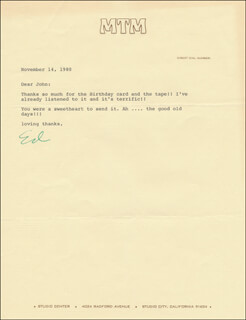 Autographs: ED ASNER - TYPED LETTER SIGNED 11/14/1980