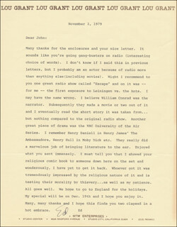ED ASNER - TYPED LETTER SIGNED 11/02/1979