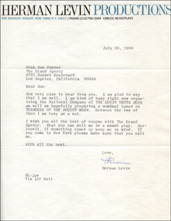 HERMAN LEVIN - TYPED LETTER SIGNED 07/30/1969