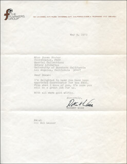 ROBERT WISE - TYPED LETTER SIGNED 05/09/1973