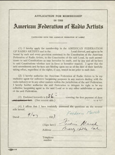 FREDRIC MARCH - DOCUMENT SIGNED 09/07/1937