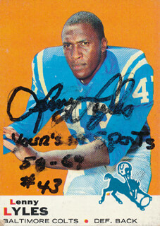 LENNY LYLES - TRADING/SPORTS CARD SIGNED