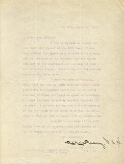 ADMIRAL ROBERT E. PEARY - TYPED LETTER SIGNED 04/22/1907