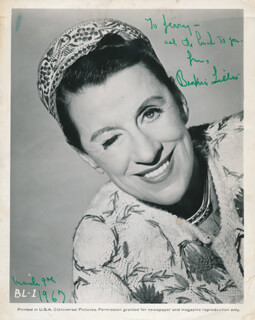 BEATRICE LILLIE - AUTOGRAPHED INSCRIBED PHOTOGRAPH 03/09/1967