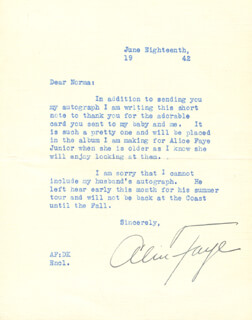 ALICE FAYE - TYPED LETTER SIGNED 06/18/1942