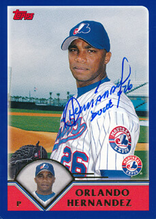ORLANDO HERNANDEZ - TRADING/SPORTS CARD SIGNED