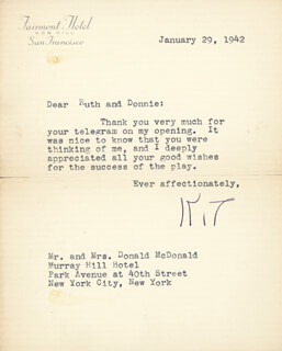 KATHARINE CORNELL - TYPED LETTER SIGNED 01/29/1942