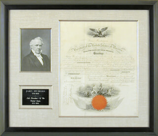 Autographs: PRESIDENT JAMES BUCHANAN - NAVAL APPOINTMENT SIGNED 01/27/1858 CO-SIGNED BY: ISAAC TOUCEY