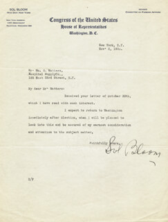 Autographs: SOL BLOOM - TYPED LETTER SIGNED 11/03/1930