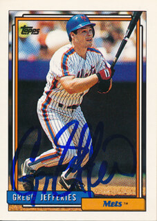 GREGG JEFFERIES - TRADING/SPORTS CARD SIGNED