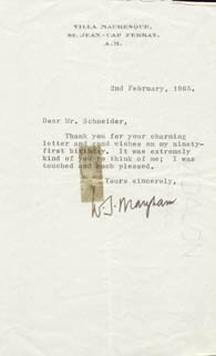 W. SOMERSET MAUGHAM - TYPED LETTER SIGNED 02/02/1965