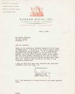 Autographs: BENNETT CERF - TYPED LETTER SIGNED 07/01/1941