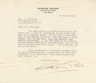 CHANNING POLLOCK - TYPED LETTER SIGNED 03/25/1946