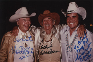 MONTE HALE - AUTOGRAPHED INSCRIBED PHOTOGRAPH CO-SIGNED BY: SUNSET CARSON, EDDIE DEAN