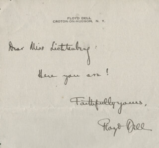 FLOYD DELL - AUTOGRAPH NOTE SIGNED