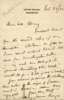 Autographs: JAMES (1ST VISCOUNT BRYCE) BRYCE (BRITAIN) - AUTOGRAPH LETTER SIGNED 02/25/1910