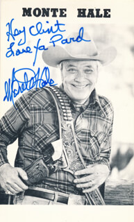 MONTE HALE - INSCRIBED PRINTED PHOTOGRAPH SIGNED IN INK