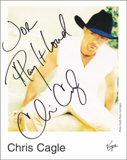 CHRIS CAGLE - INSCRIBED PRINTED PHOTOGRAPH SIGNED IN INK