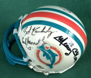 THE MIAMI DOLPHINS - MINIATURE HELMET SIGNED CO-SIGNED BY: EARL MORRALL, BOB KUECHENBERG, MERCURY (EUGENE) MORRIS, MANNY FERNANDEZ