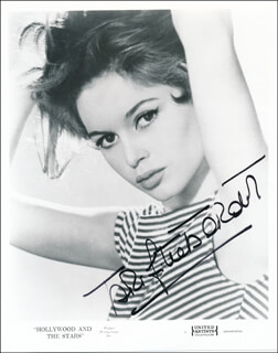 BRIGITTE BARDOT - PRINTED PHOTOGRAPH SIGNED IN INK
