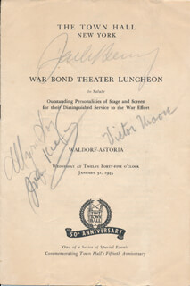 JACK BENNY - PROGRAM COVER SIGNED CO-SIGNED BY: MYRNA LOY, VICTOR MOORE, JOHN F. KIERAN