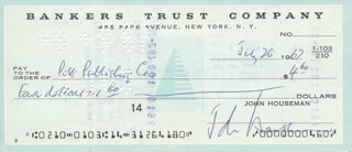 JOHN HOUSEMAN - AUTOGRAPHED SIGNED CHECK 07/26/1967