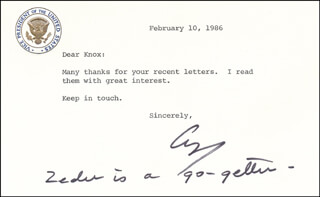 Autographs: PRESIDENT GEORGE H.W. BUSH - TYPED NOTE SIGNED 02/10/1986