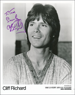 CLIFF RICHARD - INSCRIBED PRINTED PHOTOGRAPH SIGNED IN INK