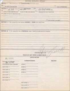 HENRY COWELL - DOCUMENT SIGNED CIRCA 1942