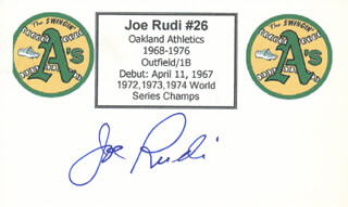 JOE RUDI - PRINTED CARD SIGNED IN INK