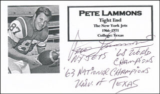PETE LAMMONS - PRINTED CARD SIGNED IN INK