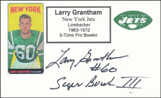 LARRY GRANTHAM - PRINTED CARD SIGNED IN INK