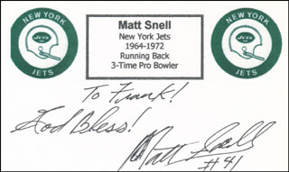 MATT SNELL - AUTOGRAPH NOTE SIGNED