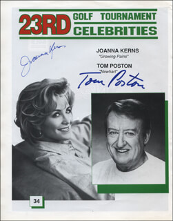 TOM POSTON - MAGAZINE PHOTOGRAPH SIGNED CO-SIGNED BY: JOANNA KERNS