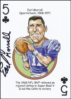 EARL MORRALL - PLAYING CARD SIGNED