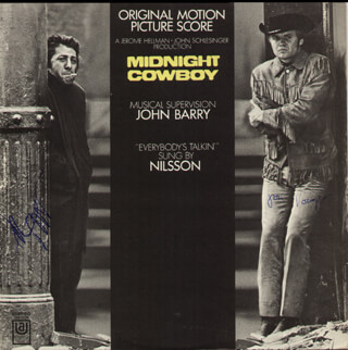 MIDNIGHT COWBOY MOVIE CAST - RECORD ALBUM COVER SIGNED CO-SIGNED BY: DUSTIN HOFFMAN, JON VOIGHT